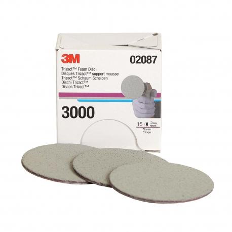 Discos de Espuma Trizact Hookit, 3 pulgadas, grano 3000
